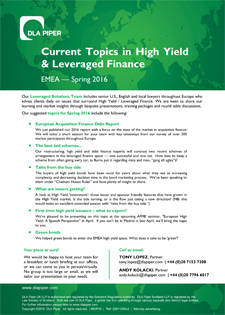 DLA Piper Current Topics in High Yield Spring 2016
