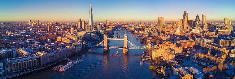 Aerial panoramic cityscape view of London and the River Thames, England, United Kingdom