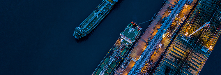 Aerial view oil tanker ship at the port at night