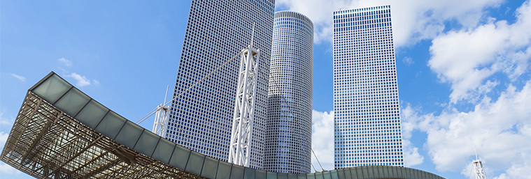 Azrieli Center in Tel Aviv , Shopping Center , israel  azrieliavivteltowersarchitecturebackgroundsbuildingsbusinesscenterconstructioncorporatedesignfinanceglasshighisraellightmodernreflectionskyscraperssteeltechnologytel-avivupurbanShow more