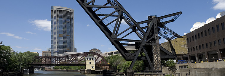 The Kinzie Street railroad bridge across the north branch of the Chicago River. At the time of its opening in 1908 it was the world's longest and heaviest bascule bridge.