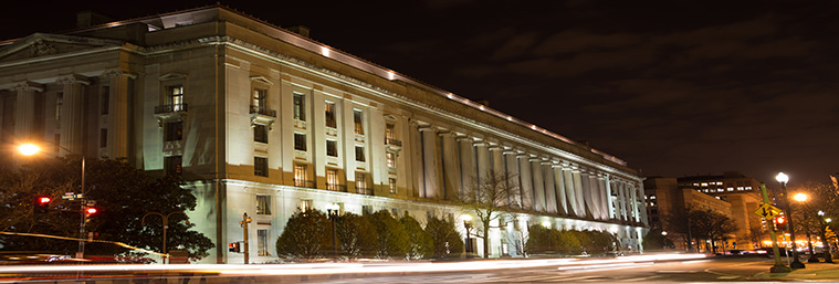 Department of Justice Building. Robert F. Kennedy building at night