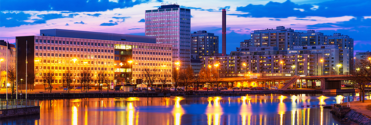 evening panorama of Hakaniemi district in Finland