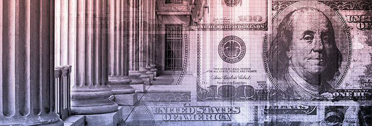 Image of court columns and dollar bill.