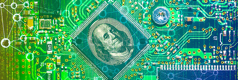 Fintech concept image. Double exposure of Electronic Circuit, US dollar note and digital abstract code background.