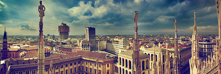 Milan, Italy panorama. View from Milan Cathedral. Royal Palace of Milan